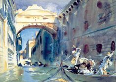 John Singer Sargent - The Bridge of Sighs   John Singer Sargent was an American artist. During his career, he created roughly 900 oil paintings and more than 2,000 watercolors, as well as countless sketches and charcoal drawings. His oeuvre documents worldwide travel, from Venice to the Tyrol, Corfu, the Middle East, Montana, Maine, and Florida.