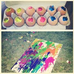 Paint inside egg shells and throw at canvas!! Fun and crafty :) DIY...& a outside activity