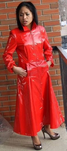 Red Raincoat, Red Leather, Leather Jacket, Rain Wear, Jackets, Rock, Women, Fashion, Black Leather Gloves