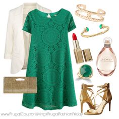 Frugal Fashion Friday St Patricks Day Outfit - Jessica Simpson Shoes, Sarah Jessica Parker Lovely, Green Lace Dress, Gold Accessories, White Blazer. Polyvore Fashion. Outfit of the Day. #ootd #outfitoftheday #fashion
