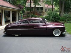1949 1950 light custom coupe in burgundy with wide white wall tires and chopped top out of the UK. Vintage Cars, Antique Cars, Candy Car, Cooper Tires, Art Deco Car, Car Station, Mercury Cars, Lead Sled, Collector Cars