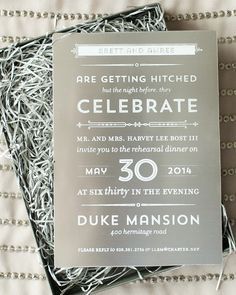 Modern Industrial Rehearsal Dinner Invitations Screen Printed on Sheet Metal by Atheneum Creative / Oh So Beautiful Paper Party Invitations Kids, Rehearsal Dinner Invitations, Graduation Invitations, Rehearsal Dinners, Wedding Invitations, Stationery Design, Wedding Stationery, Industrial Wedding, Modern Industrial