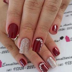 Unhas foscas, unhas vermelhas, jóias de unhas, belas unhas decoradas, u Manicure Colors, Gel Manicure, Manicures, Manicure Ideas, Nail Nail, Trendy Nails, Cute Nails, My Nails, Nagellack Design