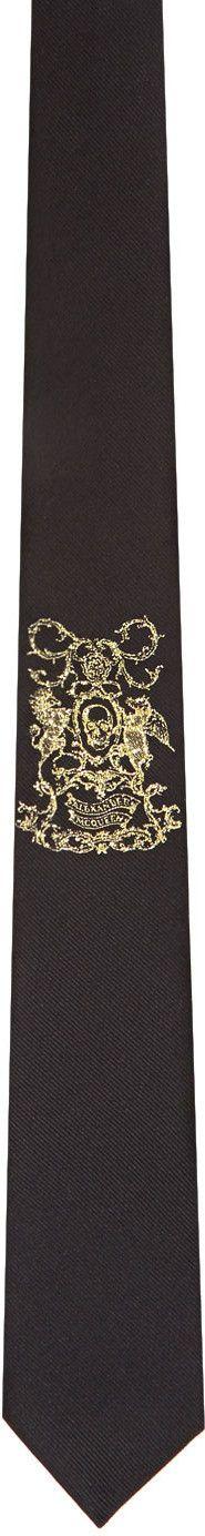 Alexander McQueen - Black 'Coat of Arms' Tie