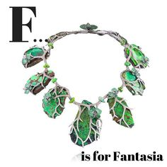 F... is for Fantasia. Enter the magical world of Parisian designer Lydia Courteille - this necklace reminds us of a magical enchanted forest. Featuring diamonds, tsavorites and turquoise. #jewellery #jewelry