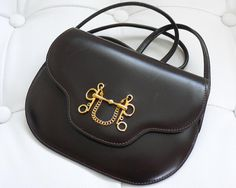 dd979e418be Authentic Hermes Brown Box Calf Mini Shoulder Bag Rare