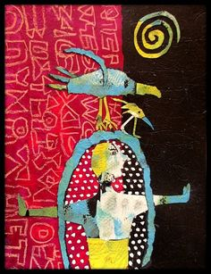 whatjanesaw:  Elke Trittel acrylic,collage on paper