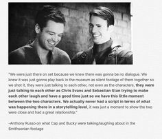 I knew it! And it makes me love them even more because they're perfect!!! | Chris Evans & Sebastian Stan