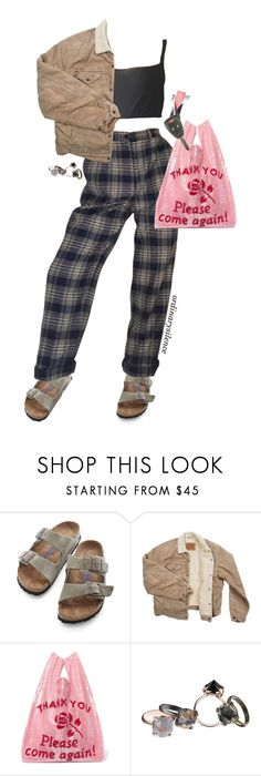"""""""grocery store jesus"""" by ordinarysilence ❤ liked on Polyvore featuring Birkenstock, Levi's, Ashish and Made Her Think"""