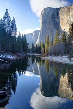 Stunning reflection of El Capitan, falling on Merced River in Yosemite National Park, California. Want to know more? Visit www.triphobo.com