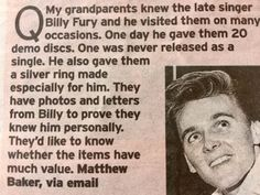 Billy Fury In the Sunday Mirror - 26.2.2017 - from Ann Randell.