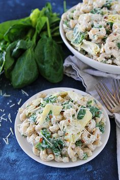 Spinach Artichoke Pasta Salad is an easy side dish for potlucks and parties