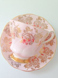 Vintage Signed Royal Grafton Fine Bone China Teacup and Saucer Made in England Pastel Pink Housewarming or Thank You Gift Inspiration