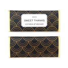 Art Deco & Gatsby inspired Scallop Burst Personalized Candy Bar Wrapper from Sweet Paper Shop | Wedding, Anniversary, Birthday & Bridal Shower Favor | Featured in Black, White & Gold colors I Choose your colors and words. Printed on shimmer paper. Foils included. Overwraps a Hershey's 1.55 oz chocolate.
