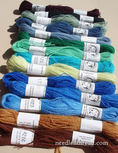 There are a few new colors of Fine d'Aubusson wool embroidery thread out. This is a line of threads produced by Au Ver a Soie, suitable for fine wool embroidery & crewel work.