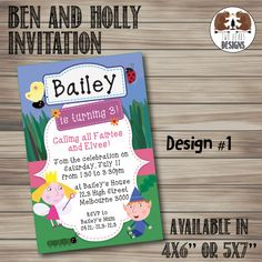 Ben and Holly's Little Kingdom Invitation. by TwoBearsDesigns