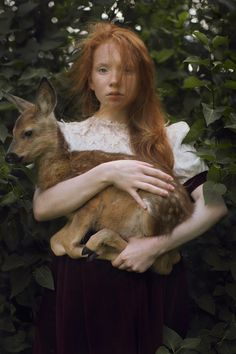 A Different Story of Bambi - A unique take on the classic tale of Bambi. A lovely young girl poses with the adorable doe. Photography by Katerina Plotnikova