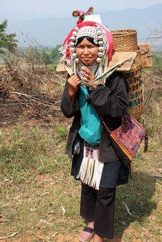 Akha tribal woman near the village of Wan Pin, Shan state, Myanmar / Burma by sensaos, via Flickr