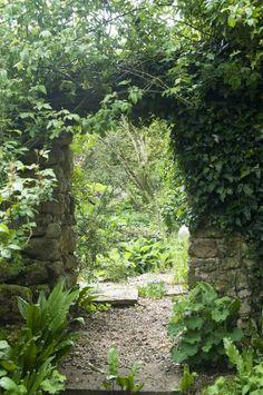 Path through a stone archway