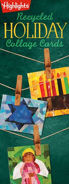 Kids can make holiday collage cards with recycled magazine scraps!