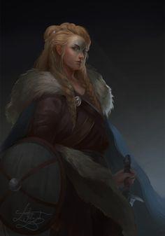 Femalehumanblondehairbrowneyeswoadbarbarian, fightershieldgreatsword, longsword, shortswordnomagicnopetnomount