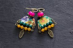 Recycled Bohemian Feather Charm Earrings with Colorful Beads, Retro Vintage Tin with Flower Patterns, and Antique Brass, Boho Jewelry
