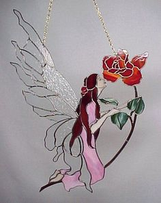 fairy by Bad Paul - Cool Glass Art Designs Stained Glass Rose, Stained Glass Paint, Stained Glass Ornaments, Stained Glass Suncatchers, Stained Glass Crafts, Stained Glass Windows, Glass Butterfly, Glass Flowers, Mosaic Glass