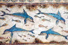 Fresco de los delfines, en el palacio de Cnosos, Creta. 11665737_670047816461564_5857649195743434882_n.jpg (immagine JPEG, 580 × 384 pixel)