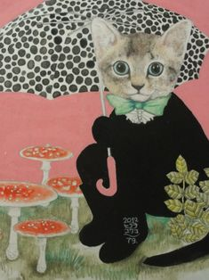 The young illustrator Yuko Higuchi makes these disturbing illustrations, where the ingenuity of humanized cats intertwined with the potential danger of the mushrooms and toadstools . Art And Illustration, Illustrations, I Love Cats, Crazy Cats, Cool Cats, Japanese Contemporary Art, Creation Art, Cats And Kittens, Ragdoll Kittens