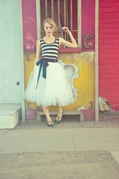 Striped Party Dress with Tulle Skirt -  via Cleo & Clementine