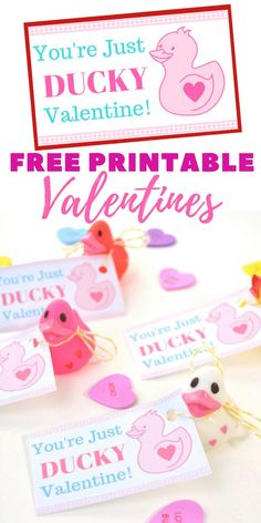 """Are you looking for super cute free Valentine printables for your kids to give out this Valentine's Day? This DIY """"You're Just Ducky"""" kids valentine is so stinking cute and is very inexpensive to make for the entire class. Plus, these homemade Valentines are something that will put store-bought valentines to shame! #ValentinesDay #ValentinesGift #valentine #FreePrintable #RubberDucky #ValentinePrintable"""