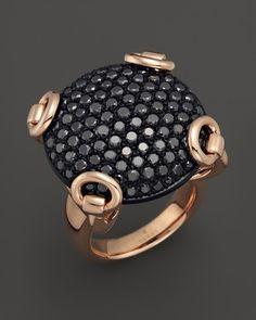 Gucci 18K Rose Gold and Black Diamond Horsebit Ring