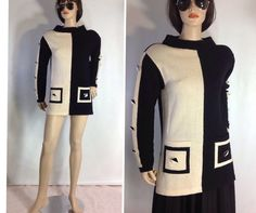 Vintage Mod Sweater Dress Tunic Sweater Black by sixcatsfunVINTAGE