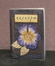 Passport cover, dark blue, with flower