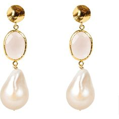 Hydra baroque pearl and rose quartz earring gold ($219) ❤ liked on Polyvore featuring jewelry, earrings, rose quartz earrings, black gold earrings, gold earrings, hammered earrings and black and gold stud earrings