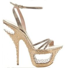 G&L Gold women pumps Diamond Real Leather High Heels Pierced Platform Rhinestone lady Sandals Gianmarco Lorenzi Frauen In High Heels, Sexy High Heels, Womens High Heels, Fancy Shoes, Me Too Shoes, Women's Shoes, Pictures Of High Heels, Jimmy Choo, Gianmarco Lorenzi
