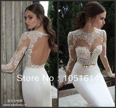 Vestido De Noiva 2014 Sexy Open Back Lace Wedding Dresses Long Sleeve Lace Wedding Dress Vestido De Casamento $200.00