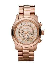 Want for Valentine's Day!  Michael Kors Rose Golden Oversized Chronograph Watch #outlet #shopping