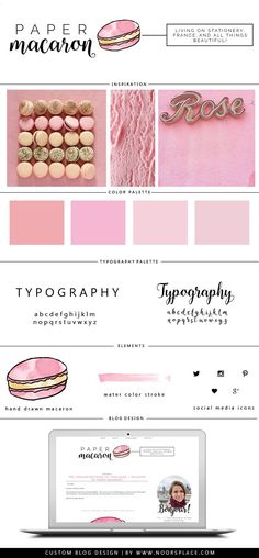 Pastel pink theme & hand-drawn illustration of macaron: blog design inspiration board for Paper Macaron blog. A lot of France, stationery, and creativity involved. - blog design for lifestyle bloggers. Check out http://www.noorsplace.com/ for more details on getting yourself a new design like this #branding