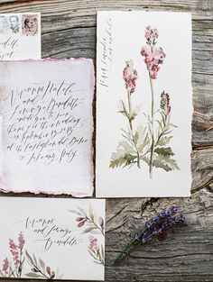 watercolor florals or botanicals with really loose calligraphy; i'm also starting to collect vintage stamps, so much meaning behind them