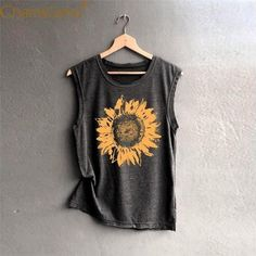 Women Sleeveless Sunflower Casual Loose Tank Top 2019 summer t shirt summer nights t shirt sleeve summer t shirt half sleeve t shirts sleeveless tee t shirt t shirt dresses shirt bobo summer cup tshirt Sommerkleider Trend 2019 Sunflower Shirt, Sunflower Clothing, Womens Trendy Tops, Look Rock, Short En Jean, Summer Shirts, Summer Tank Tops, Muscle Tees, Girls Muscle Shirts