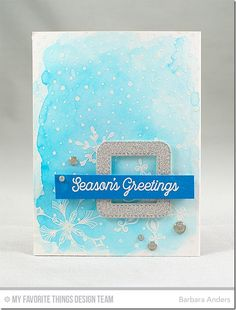 Snowfall of Blessing Stamp Set, Simply Snowflakes Stamp Set, Snowfall Background, Stitched Rounded Square Frames Die-namics - Barbara Anders #mftstamps