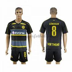 Billige Fotballdrakter BVB Borussia Dortmund 2016-17 Gundogan 8 Borte Draktsett Kortermet