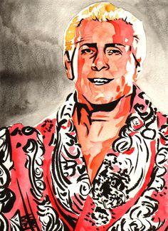 """Ric Flair l Ink and watercolor on 9"""" x 12"""" watercolor paper l #WWE l WOOOOOOOOOOOO!"""