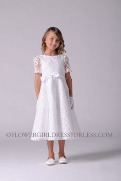 Us Angels Dress Style 314 - WHITE Short Sleeve Embroidered Lace Dress $176.99