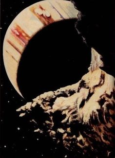 Plate XVI. Jupiter from one of its moons, Io. An artist's conception before the age of space exploration. Guide to the Planets. 1955.