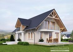 House with attic in traditional style with usable area House with a single garage. Minimum size of a plot needed for building a house is m. Minimal House Design, Minimal Home, Model House Plan, House Plans, Rustic Houses Exterior, My Home Design, Facade House, House Layouts, Cabana