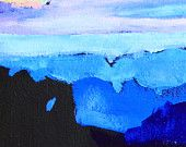 """Landscape painting 5x7"""" acrylic on gessoed panel - Shades of blue lilac black and white - impressionist fine art by Cristina Jacó"""