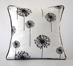 black 18x18 pillow.black white pillow cover.flower pillow.flower pillow cover.decorative pillow.throw pillow.cushion.dandelion pillow by OliviasSmileDecor on Etsy https://www.etsy.com/listing/263389880/black-18x18-pillowblack-white-pillow