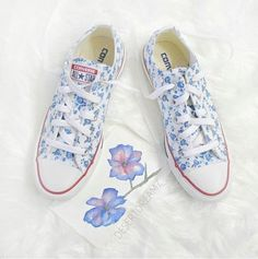 Pretty in Blue <3 Floral Sibel custom Converse #QTeeshirts